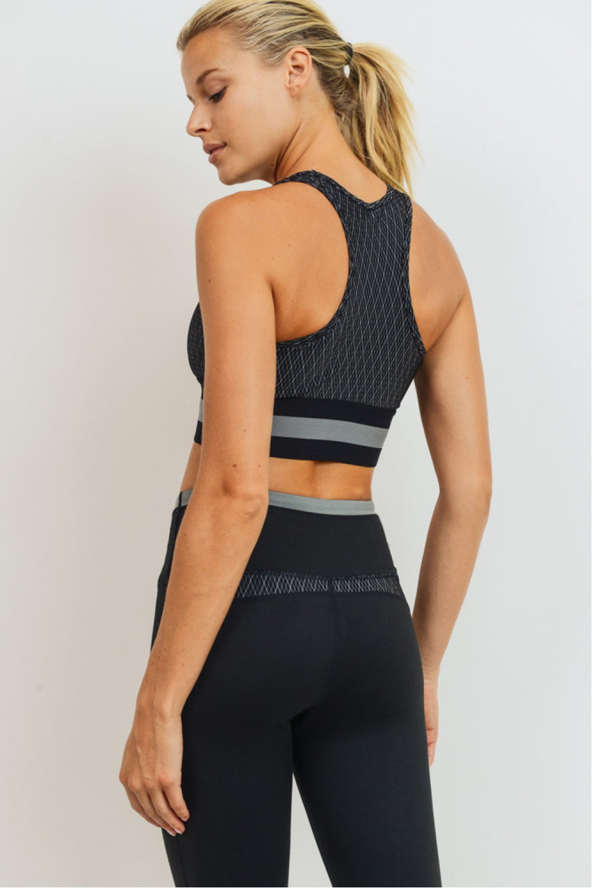 Diamond Jacquard Block Racerback Sports Bra