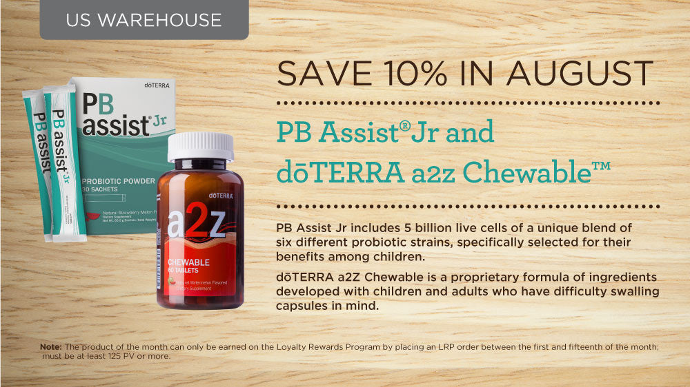 doTERRA August 2017 Promotions PB Assist JR a2z Chewable Tablets