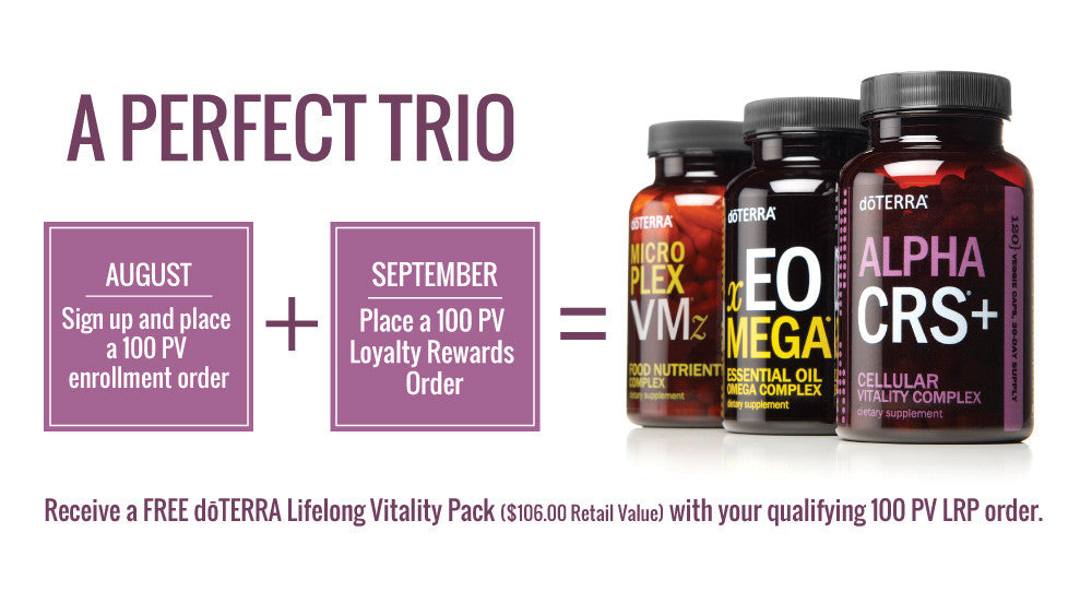 doTERRA August 2017 Promotions Lifelong Vitality Pack