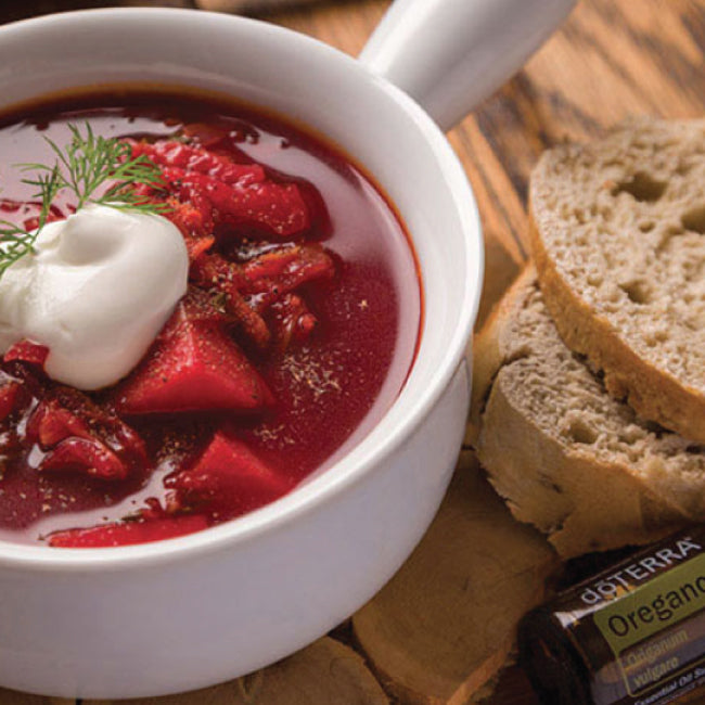 borsch soup with essential oils