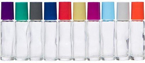 10ml Clear Glass Roller Bottles with Multi-colored Caps (10 Pack)