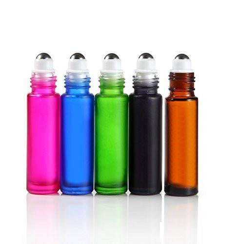 10ml Multi-colored Glass Roller Bottles (5 Pack)
