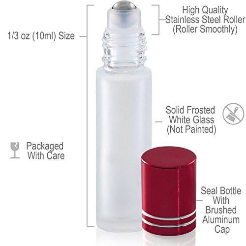 10ml White Frosted Glass Roller Bottles (6 Pack)