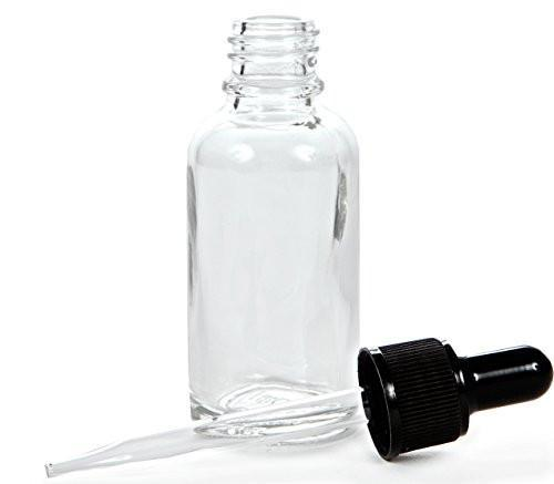 30ml Clear Glass Bottles With Dropper Caps (12 Pack)