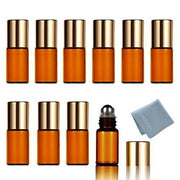 3ml Amber Glass Roller Bottles (10 Pack)