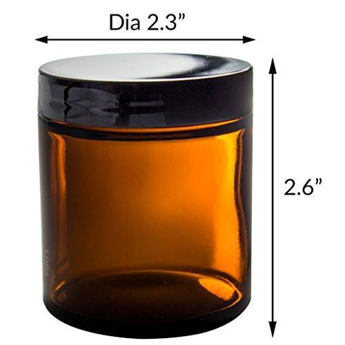4oz Amber Glass Jars (2 Pack)