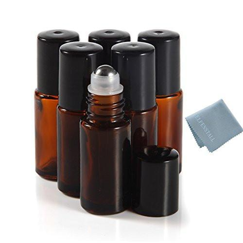 5ml Amber Brown Glass Roller Bottles (8 Pack)