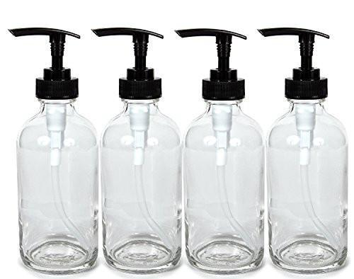 8oz Clear Glass Pump Bottles (4 Pack)