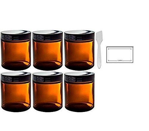 Amber Glass Straight Sided Jar - 4 oz (6 Pack) + Spatulas and Labels