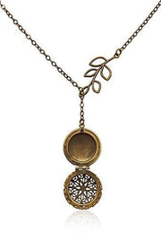 Antiqued Brass Toned Essential Oil Diffuser Necklace With Branch Chain Detail