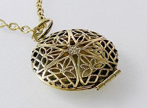 Antiqued Bronze Toned Bohemian Style Essential Oil Diffuser Necklace