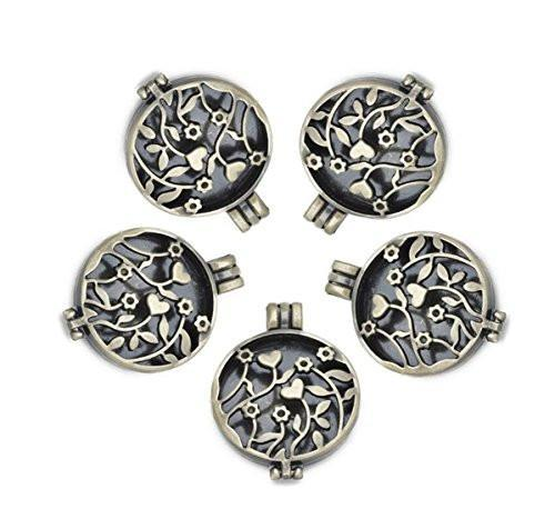 Antiqued Bronze Toned Essential Oil Diffuser Lockets (10 Pack)