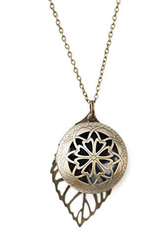 Antiqued Bronze Toned Essential Oil Diffuser Necklace With Leaf Charm