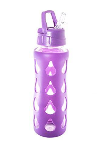 Aroma Oil Tools - Glass Water Bottle with PURPLE Silicone Patterned Shell - 22oz - Single