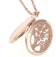 Aromatherapy Tree of Life Pendant Locket Necklace Essential Oil Diffuser Holder 316L Grade Stainless Steel (Oval Rose Gold)