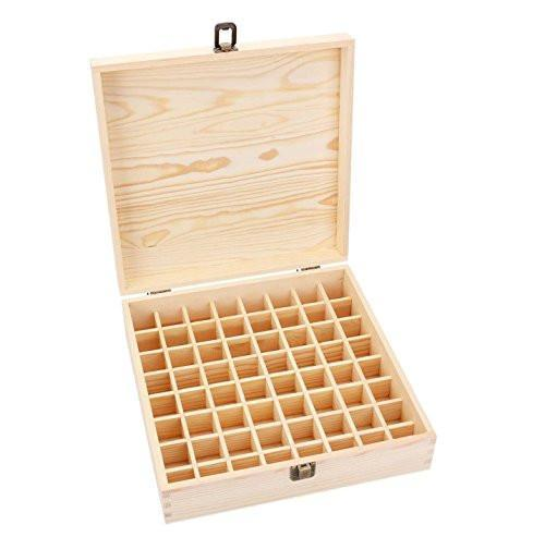 Bekith Wooden Essential Oil Box - Holds 64 (5-15 ml) Essential Oil Bottles - Perfect Essential Oils Case for Presentations