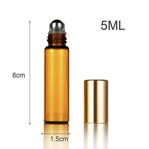Combo Set of 3ml/5ml Amber Glass Roller Bottles (10 Pack - 5 of Each Size)