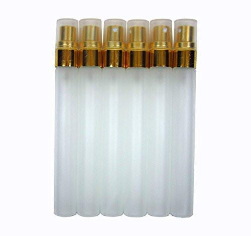 Empty Glass Bottle Head Pump Spray Sprayer Atomizer Cap Gold Refill Perfume Fragrance Essential Oils 1/3 oz or 10 ml or 10 cc (Pack of 12 Pcs)