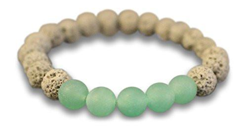 Green Aventurine & Grey Lava Rock Essential Oil Diffuser Bracelet