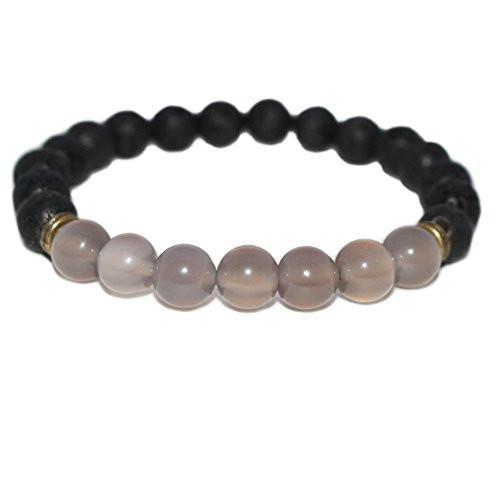 Grey Agate & Black Lava Rock Essential Oil Diffuser Bracelet