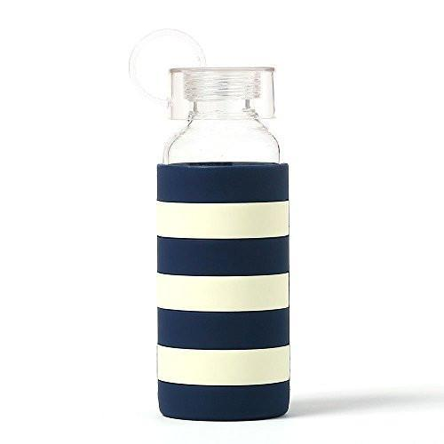 Kate Spade New York Women's Glass Water Bottle, Navy Rugby Stripe, One Size