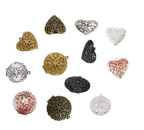 Multi-colored Heart & Round Essential Oil Diffuser Lockets (12 Pack - 6 of Each Shape)
