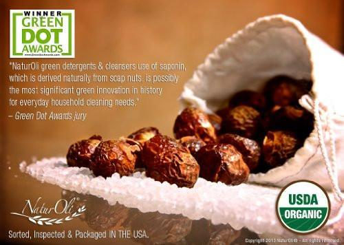 NaturOli Soap Nuts / Soap Berries- Sale- 1/2-Lb USDA ORGANIC (120 loads) + 18X BONUS! (12 loads) Select Seedless. Wash Bag, Tote Bag, 8-pg info. Organic Laundry / Natural Cleaner. Processed in USA!