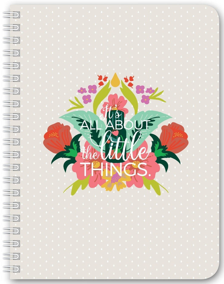 Notebook 5.5x7.25 inch / Small Notebook with Wire-O / 94 Essential Bouquet Notebook- Tan