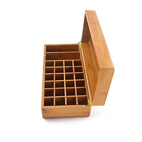 Samyo Aromatherapy Essential Oil Wooden Storage Gift Box Built-in Magnet Buckle - Fits 26 Bottles