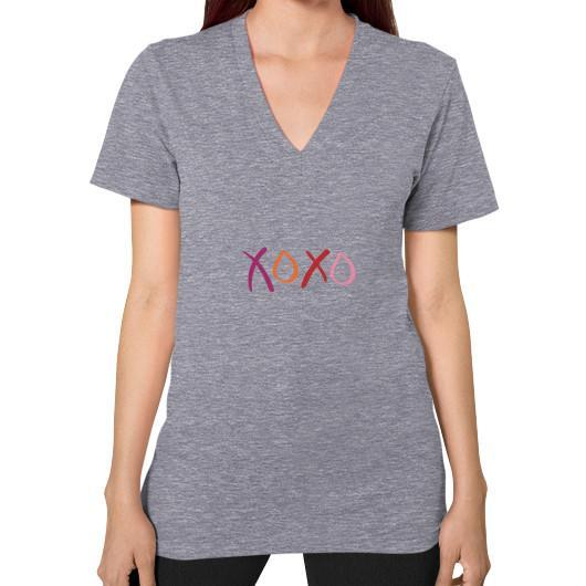T-Shirt XS / Tri-Blend Grey V-Neck (on woman)