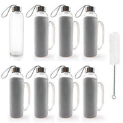 TeiKis 18 oz Glass Water Bottles (8) + Nylon Sleeve (8) + Bottle Brush Set (1). Beverage, Juice Container with Stainless Steel Leak-proof Caps