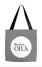 Tote Bag 9x9 inch But first, oils tote