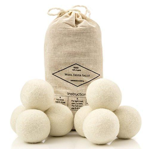 Wool Dryer Balls, 8-Pack - Natural Fabric Softener - Ecofriendly & Organic - Reusable Dryer Sheets for Infants - Soft and Gentle on Clothes & Skin