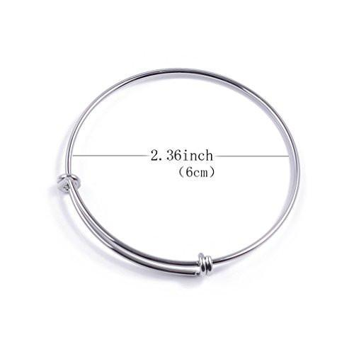 ZX Jewelry 10pcs Womens Expandable Blank Bangle Bracelet for Jewelry DIY Making 2 Colors