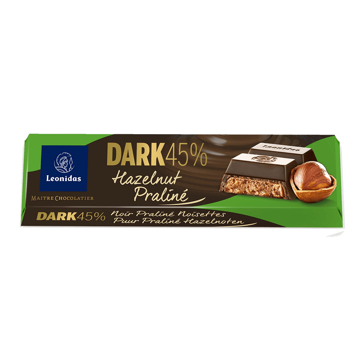 Batons Dark Chocolate (45%) with Hazelnut Praline Pack (6 x 50g)