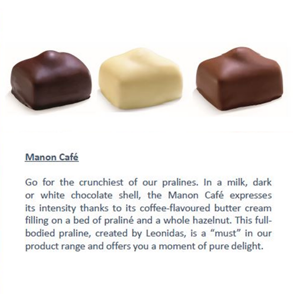 Leonidas Belgian Chocolates assorted Manon Cafe in milk, dark and white chocolate
