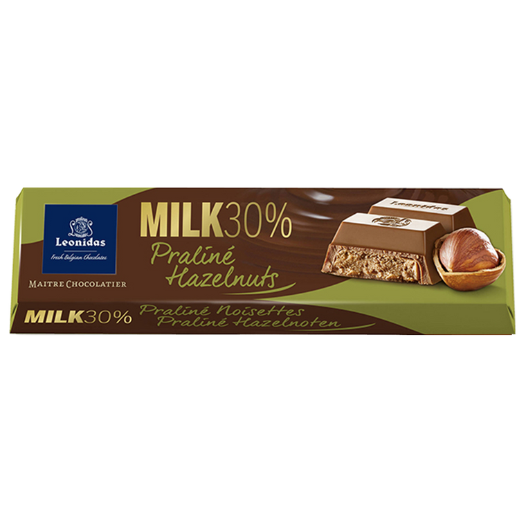 Batons Milk Chocolate (30%) with Hazelnut Praline Pack (6 x 50g)