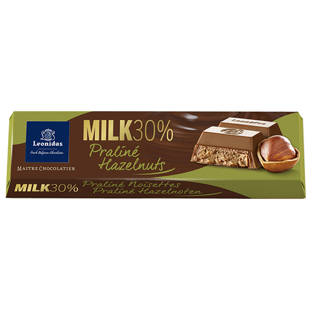 Batons Milk Chocolate (30%) with Hazelnut Praline (6 x 50g)