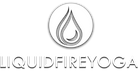 Liquid Fire Yoga logo of water droplets, fire and waxing crescent moon