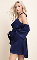 TIERED RUFFLE DRESS - NAVY