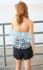 ALLIE LACE CROP - ICE BLUE