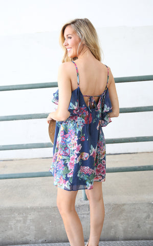 TIERED FLORAL DRESS - NAVY