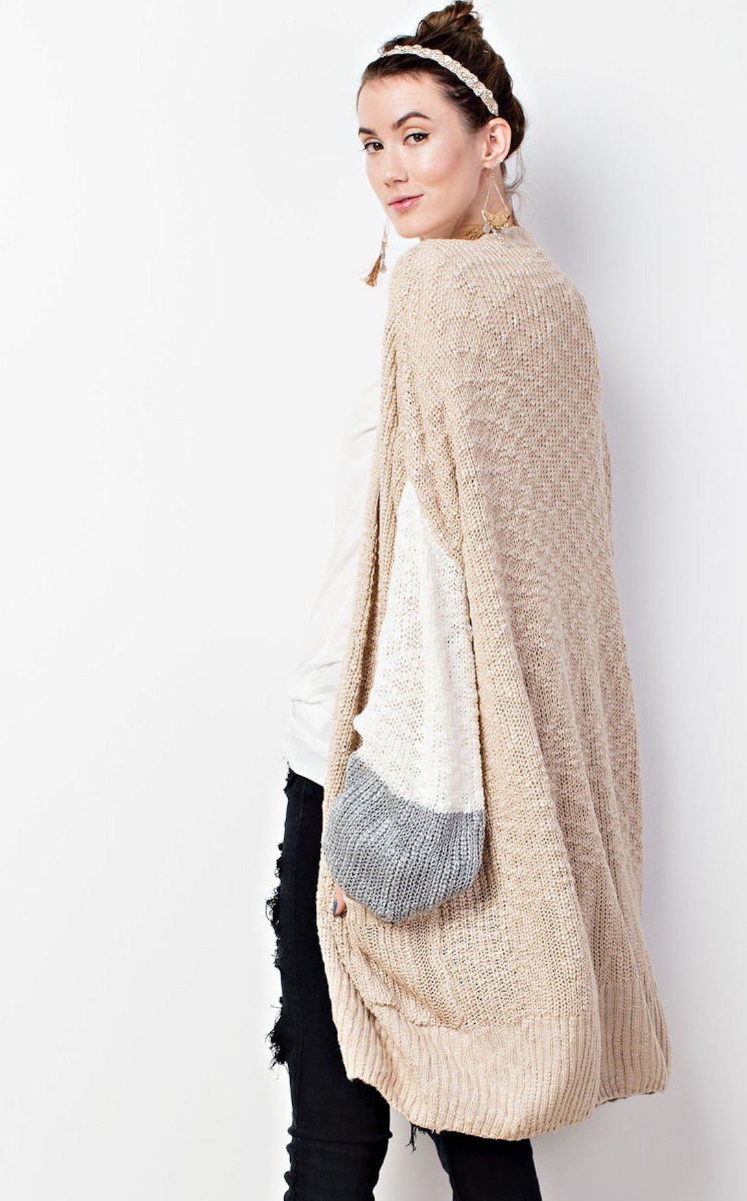 COLOR BLOCK CARDIGAN - OATMEAL