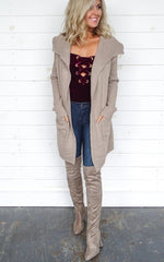 RIBBED KNIT CARDIGAN - TAUPE