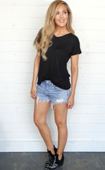 BASIC CROSS BACK TEE - BLACK