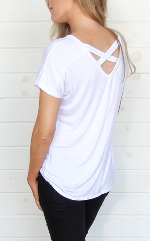 BASIC CROSS BACK TEE - WHITE