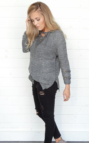 LACE UP SWEATER - CHARCOAL
