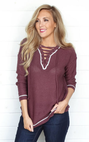 SAM LACE FRONT SWEATER