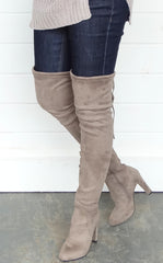 OVER THE KNEE BOOTS - DARK TAUPE