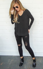 WASHED JERSEY LONG SLEEVE - BLACK